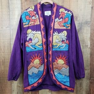 Handpainted by Uma Designs purple jacket M